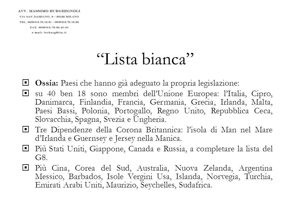 Lista bianca Ossia: Paesi che hanno già adeguato la propria legislazione: