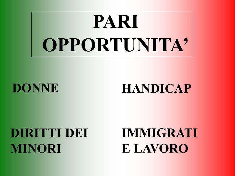 PARI OPPORTUNITA' DONNE HANDICAP DIRITTI DEI MINORI IMMIGRATI E LAVORO