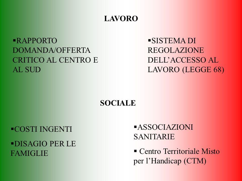 LAVORO RAPPORTO DOMANDA/OFFERTA CRITICO AL CENTRO E AL SUD. SISTEMA DI REGOLAZIONE DELL'ACCESSO AL LAVORO (LEGGE 68)