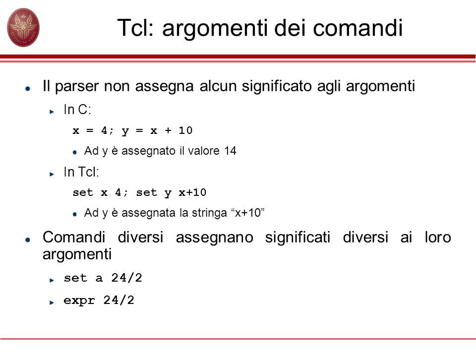 Tcl: argomenti dei comandi