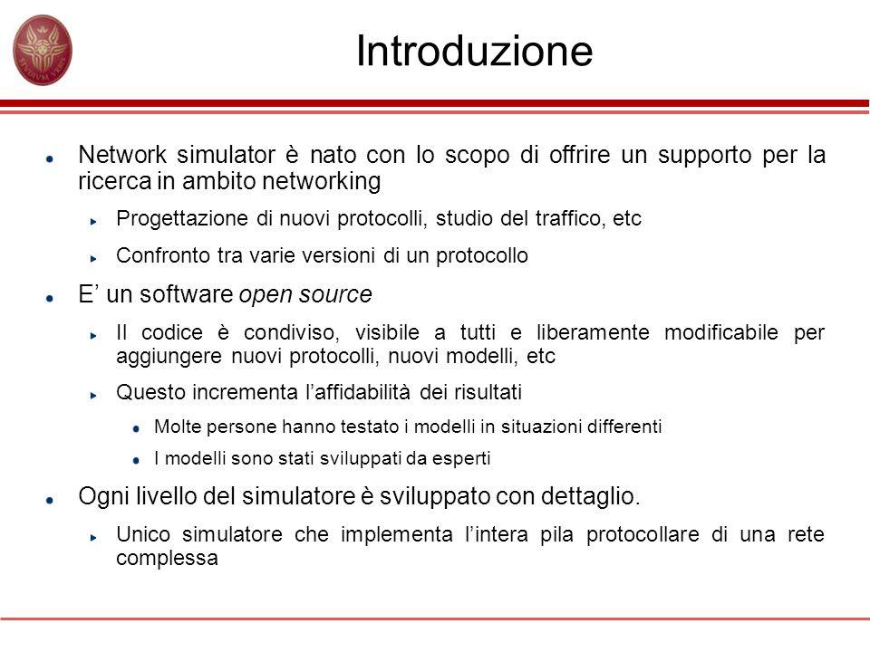 Introduzione Network simulator è nato con lo scopo di offrire un supporto per la ricerca in ambito networking.