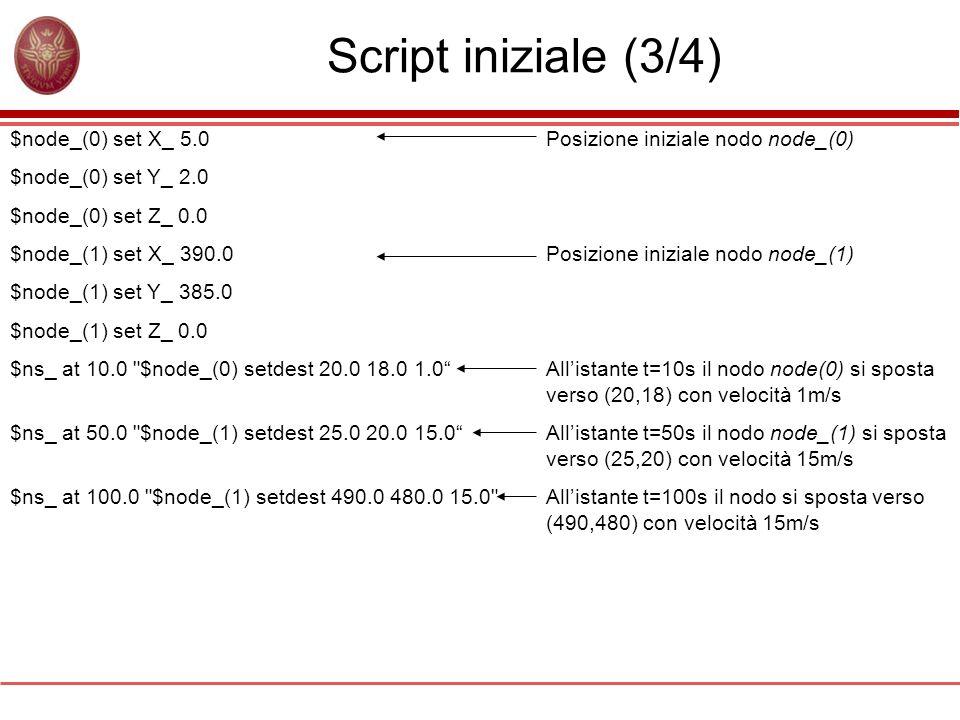Script iniziale (3/4) $node_(0) set X_ 5.0 $node_(0) set Y_ 2.0