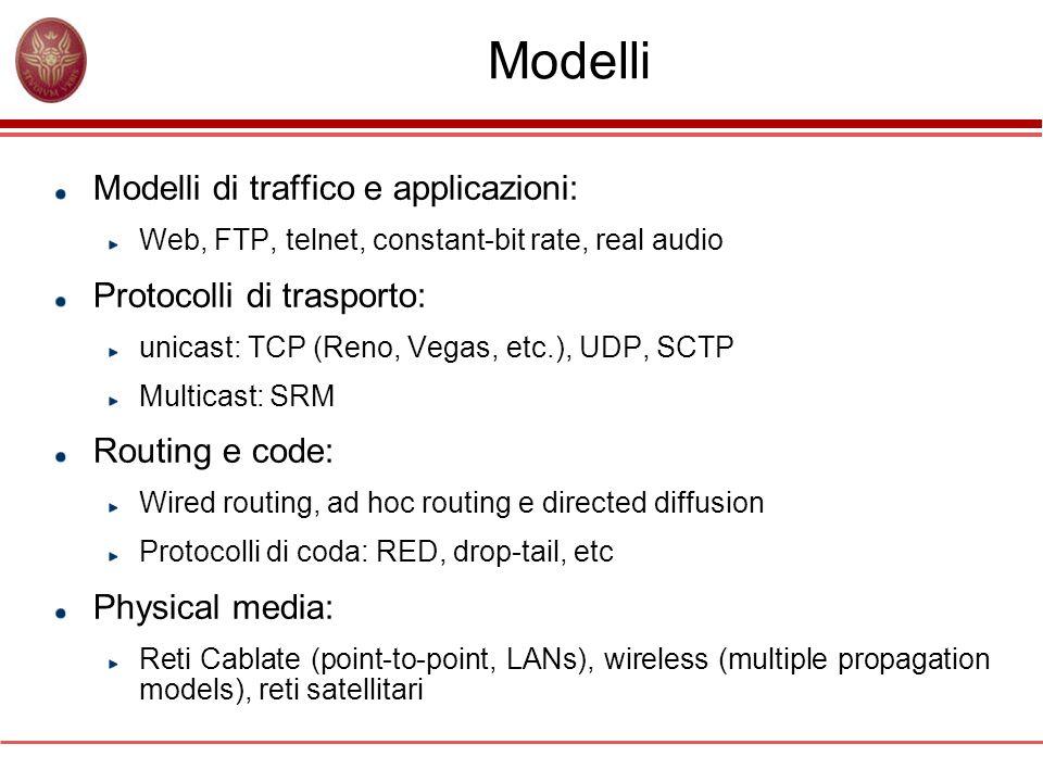 Modelli Modelli di traffico e applicazioni: Protocolli di trasporto: