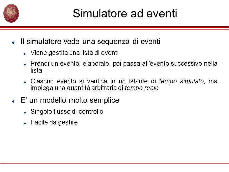 Simulatore ad eventi Il simulatore vede una sequenza di eventi