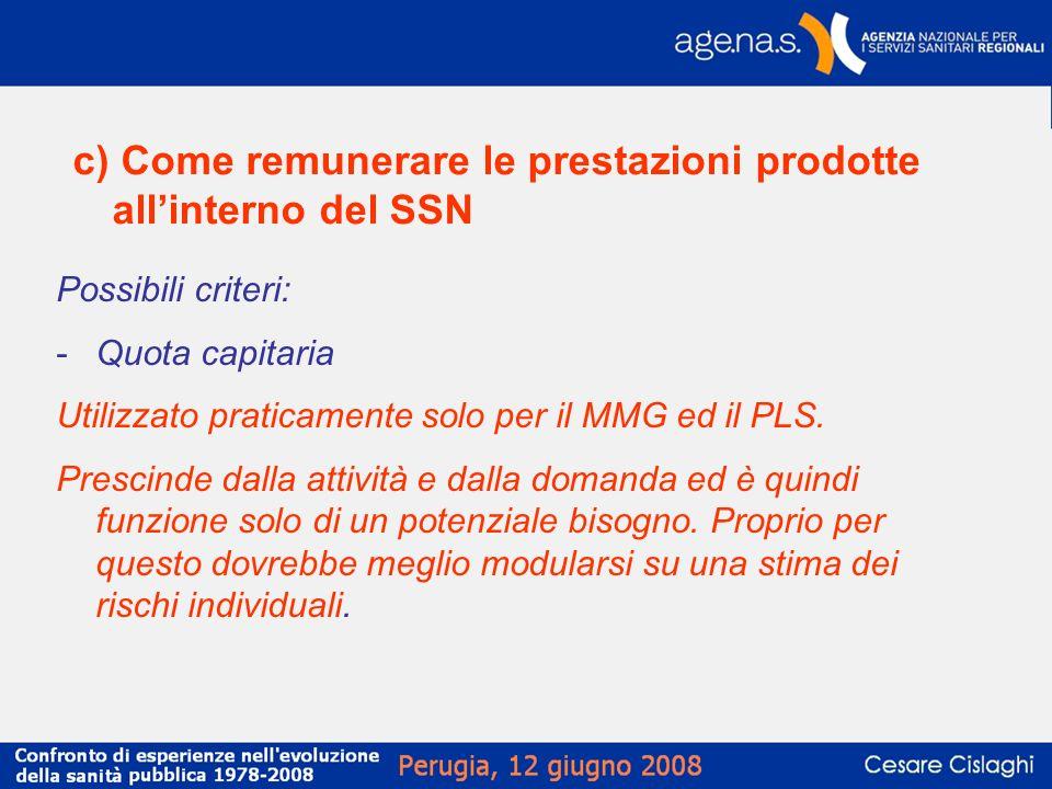 c) Come remunerare le prestazioni prodotte all'interno del SSN