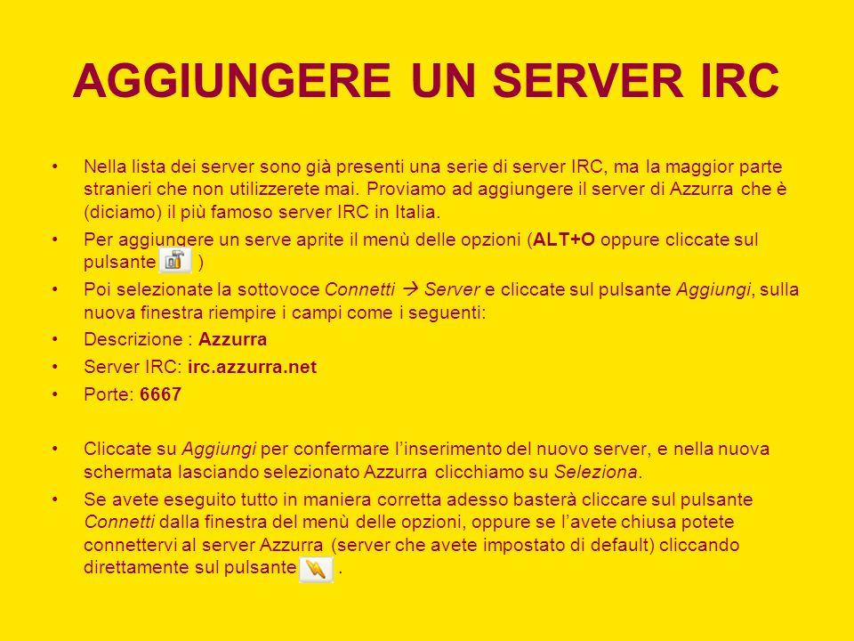 AGGIUNGERE UN SERVER IRC