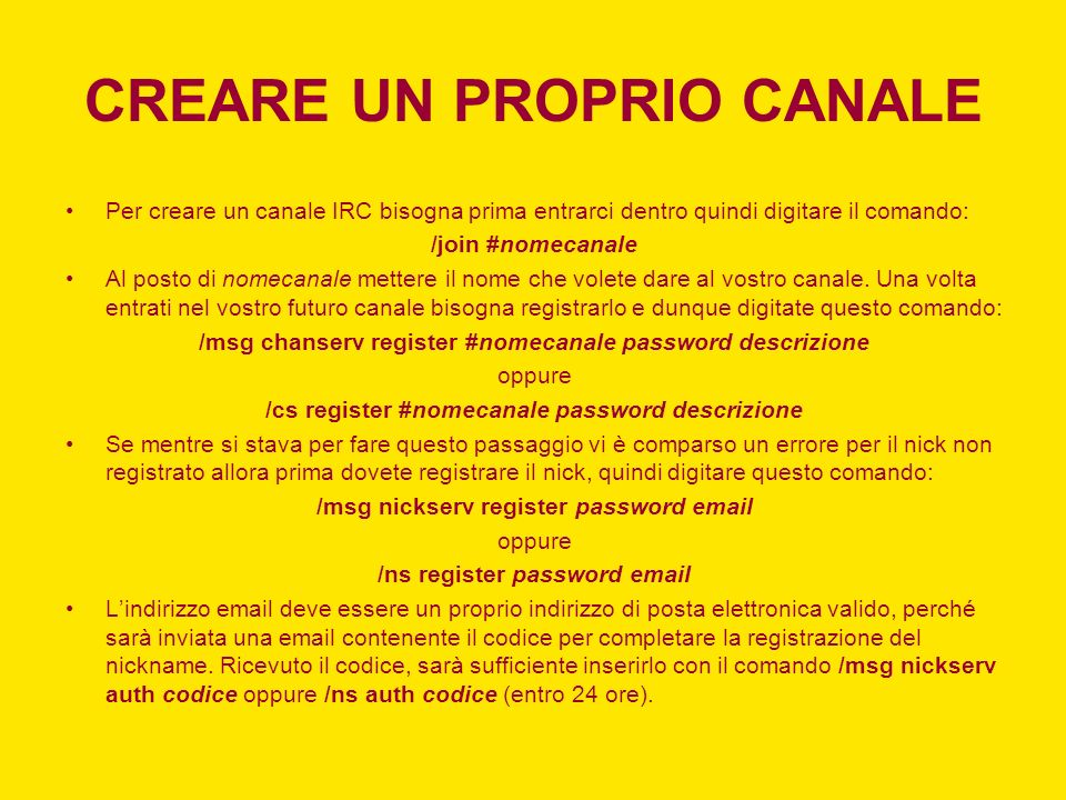 CREARE UN PROPRIO CANALE
