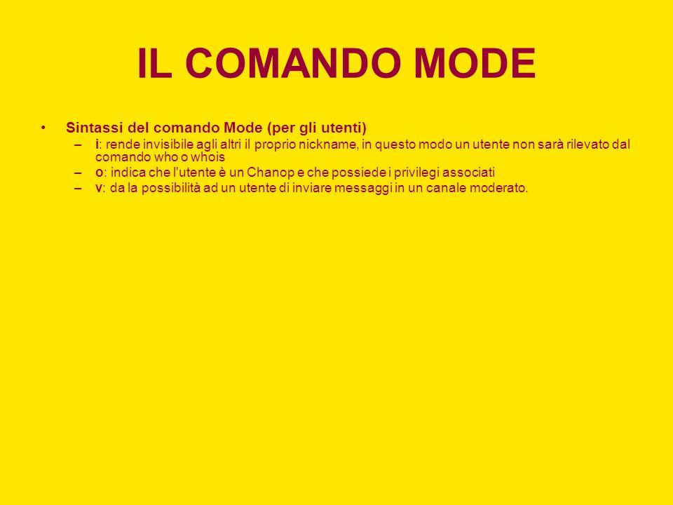 IL COMANDO MODE Sintassi del comando Mode (per gli utenti)