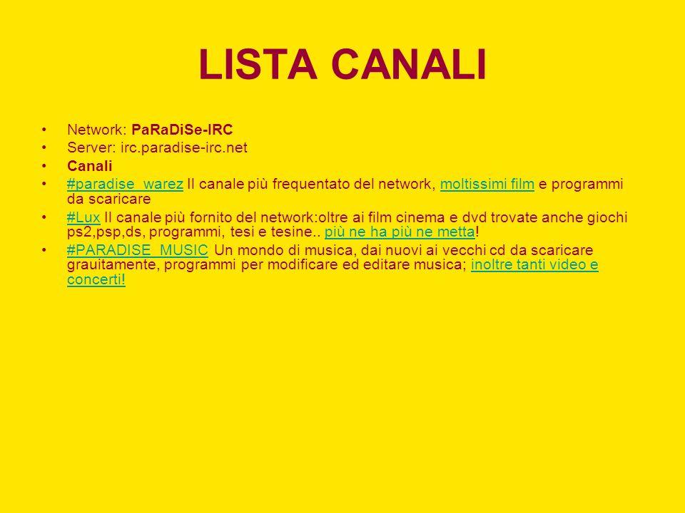 LISTA CANALI Network: PaRaDiSe-IRC Server: irc.paradise-irc.net Canali
