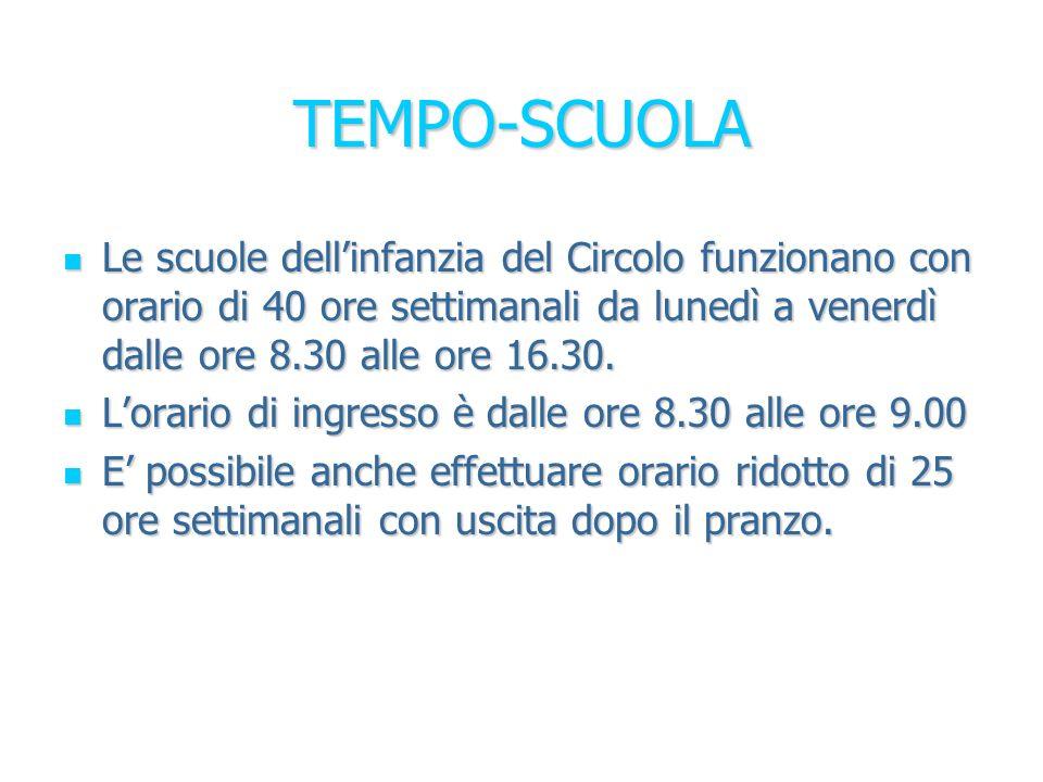 TEMPO-SCUOLA Le scuole dell'infanzia del Circolo funzionano con orario di 40 ore settimanali da lunedì a venerdì dalle ore 8.30 alle ore 16.30.