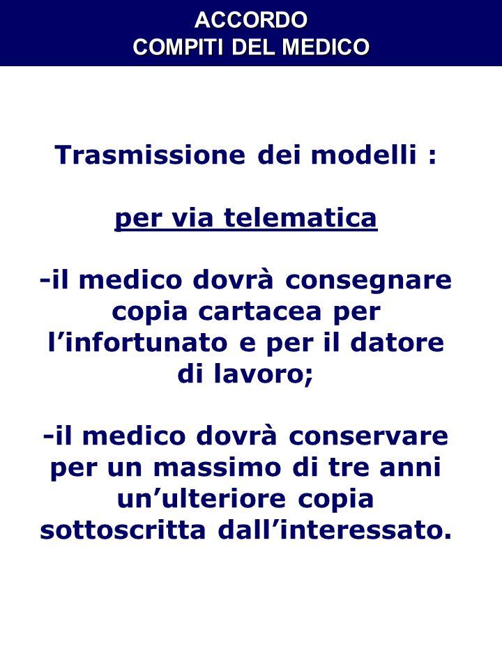 ACCORDO COMPITI DEL MEDICO Trasmissione dei modelli :