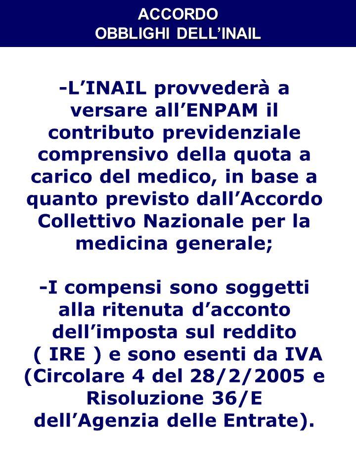ACCORDO OBBLIGHI DELL'INAIL
