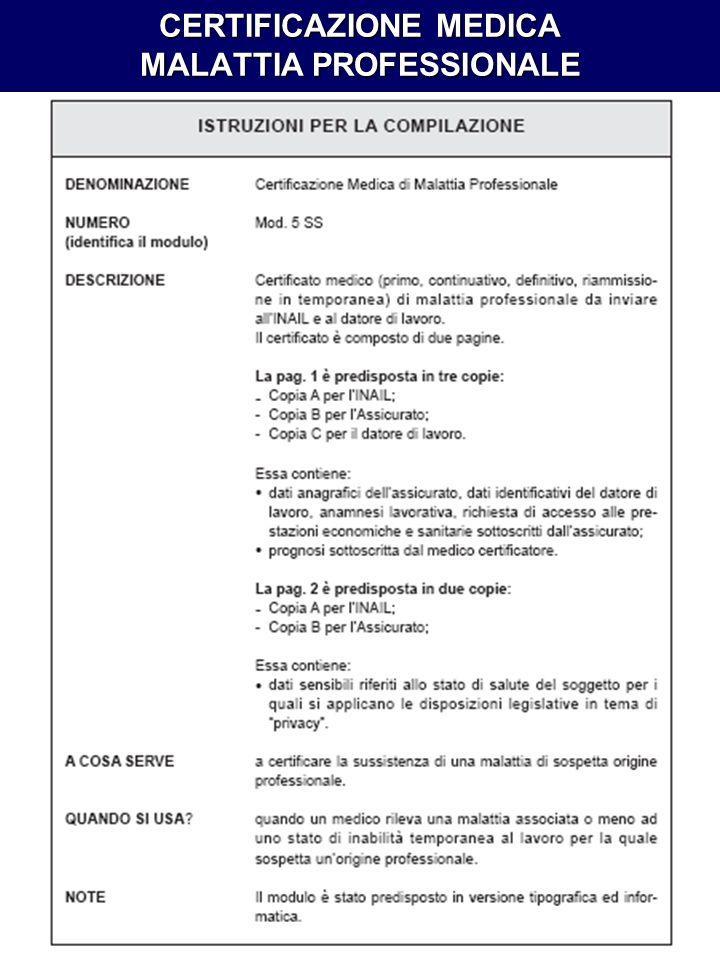 CERTIFICAZIONE MEDICA MALATTIA PROFESSIONALE