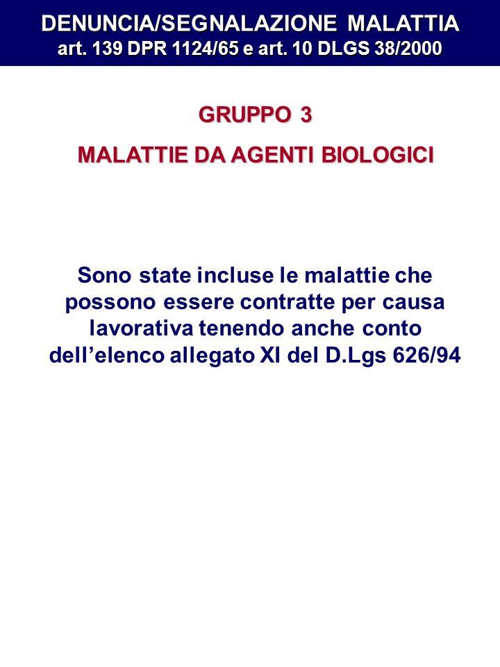 MALATTIE DA AGENTI BIOLOGICI