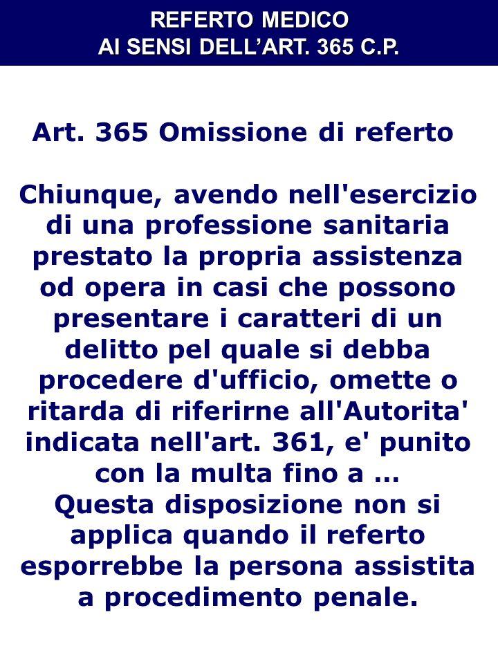 Art. 365 Omissione di referto