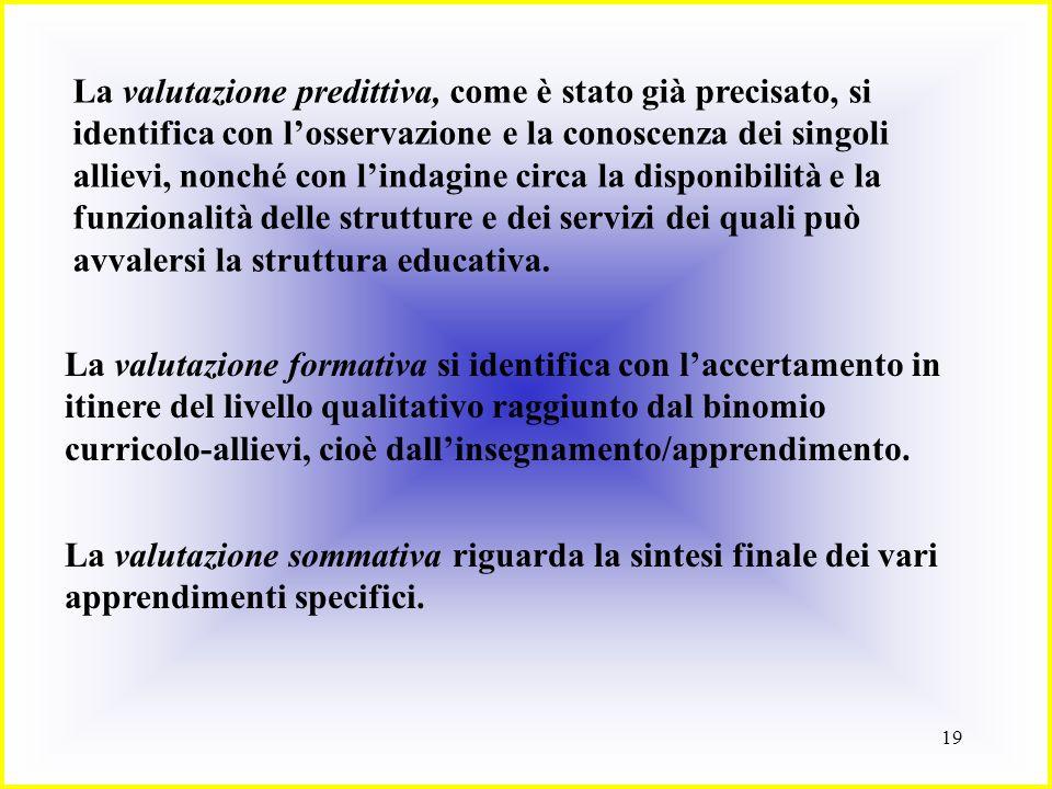 La valutazione predittiva, come è stato già precisato, si identifica con l'osservazione e la conoscenza dei singoli allievi, nonché con l'indagine circa la disponibilità e la funzionalità delle strutture e dei servizi dei quali può avvalersi la struttura educativa.