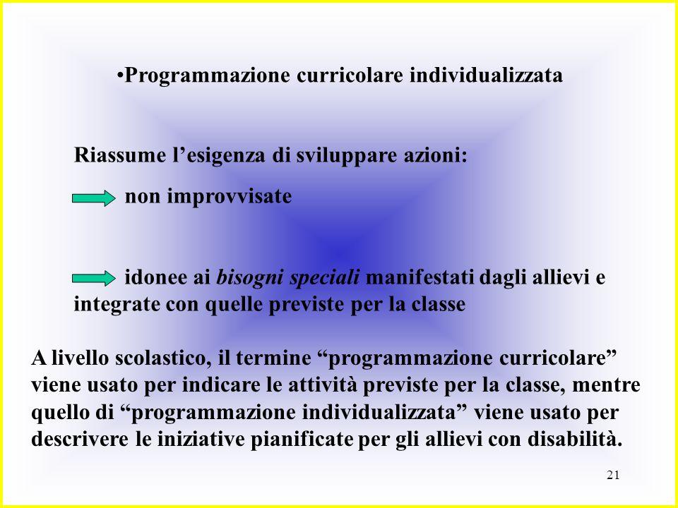Programmazione curricolare individualizzata