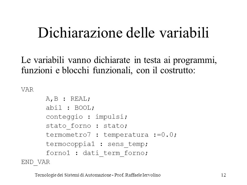 Dichiarazione delle variabili