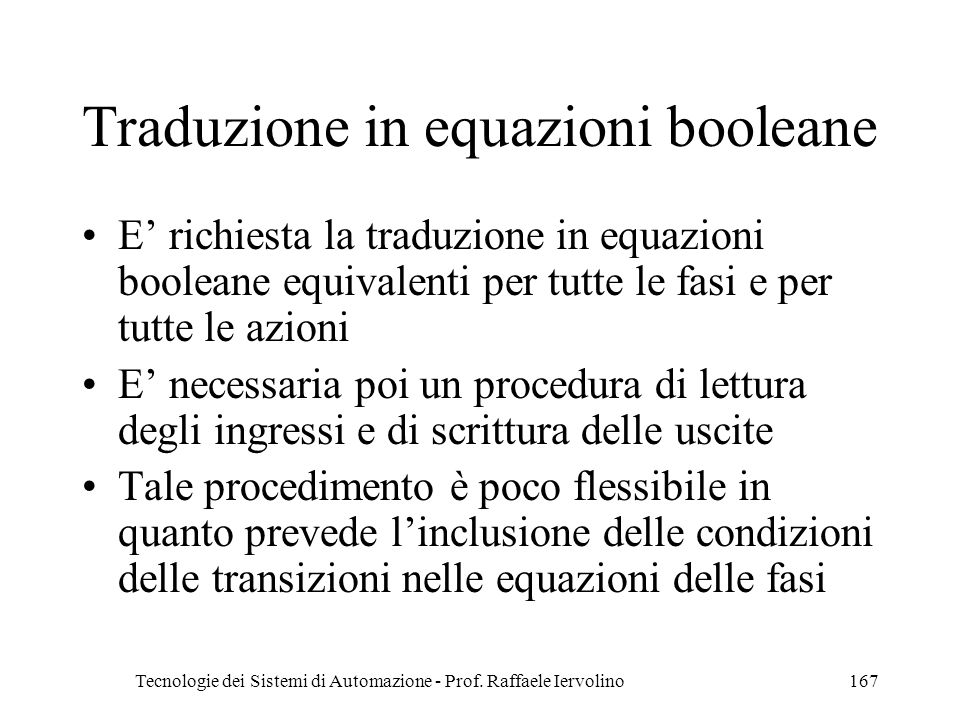 Traduzione in equazioni booleane
