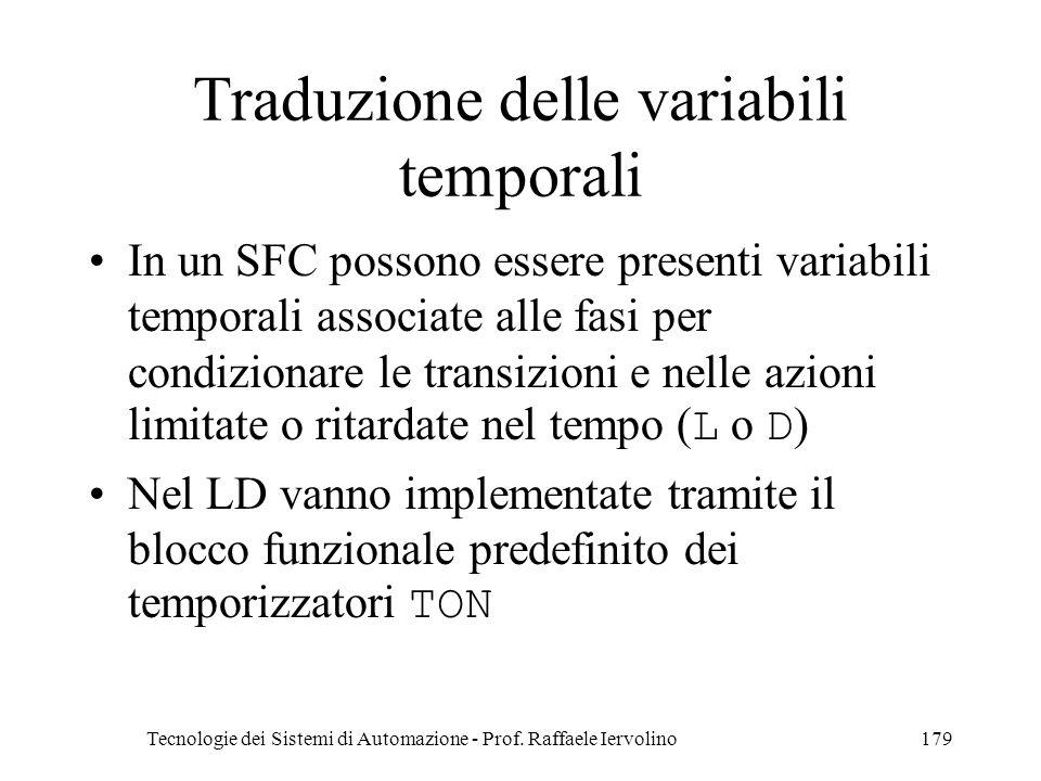 Traduzione delle variabili temporali