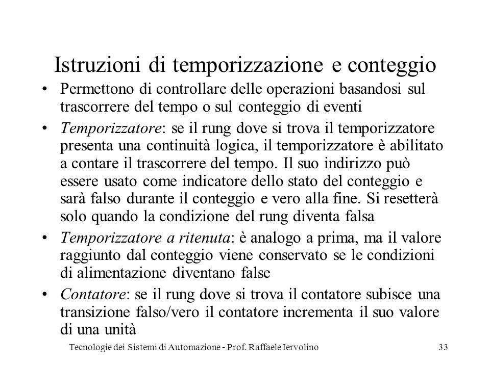 Istruzioni di temporizzazione e conteggio