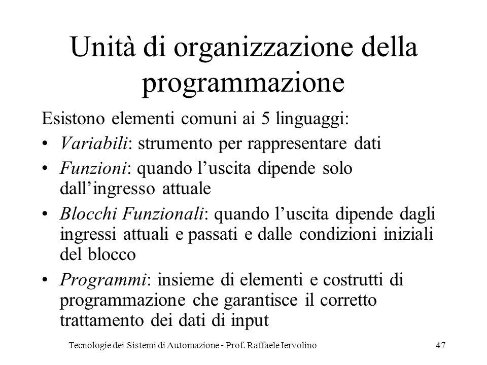 Unità di organizzazione della programmazione