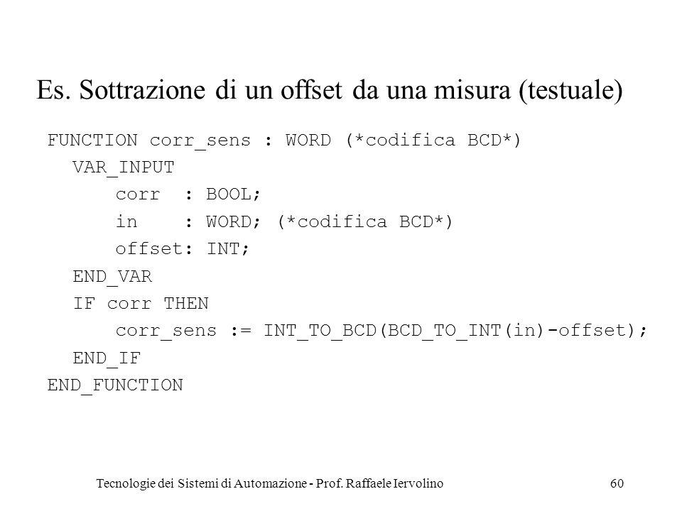 Es. Sottrazione di un offset da una misura (testuale)