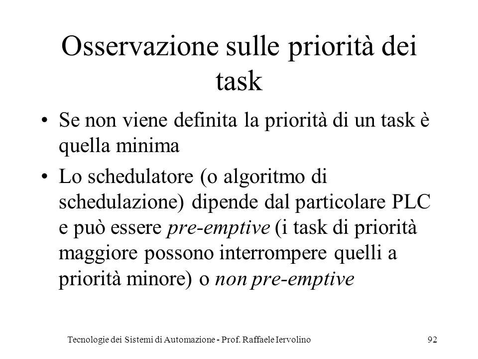Osservazione sulle priorità dei task