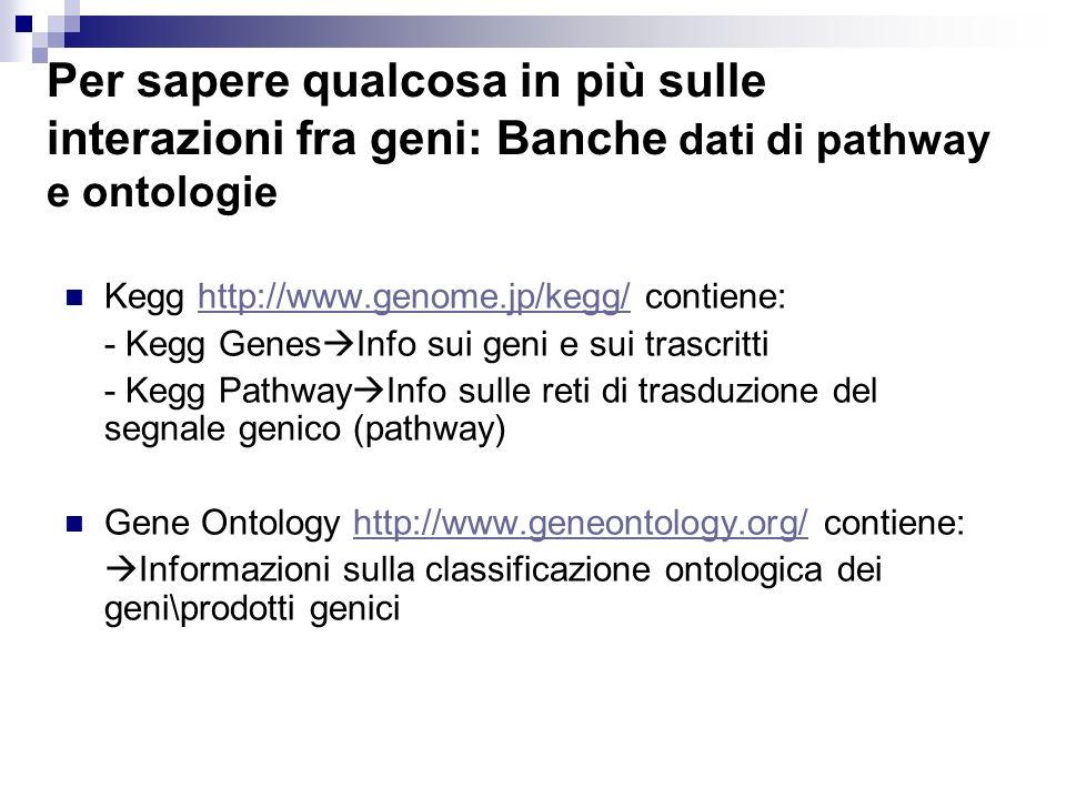 Per sapere qualcosa in più sulle interazioni fra geni: Banche dati di pathway e ontologie