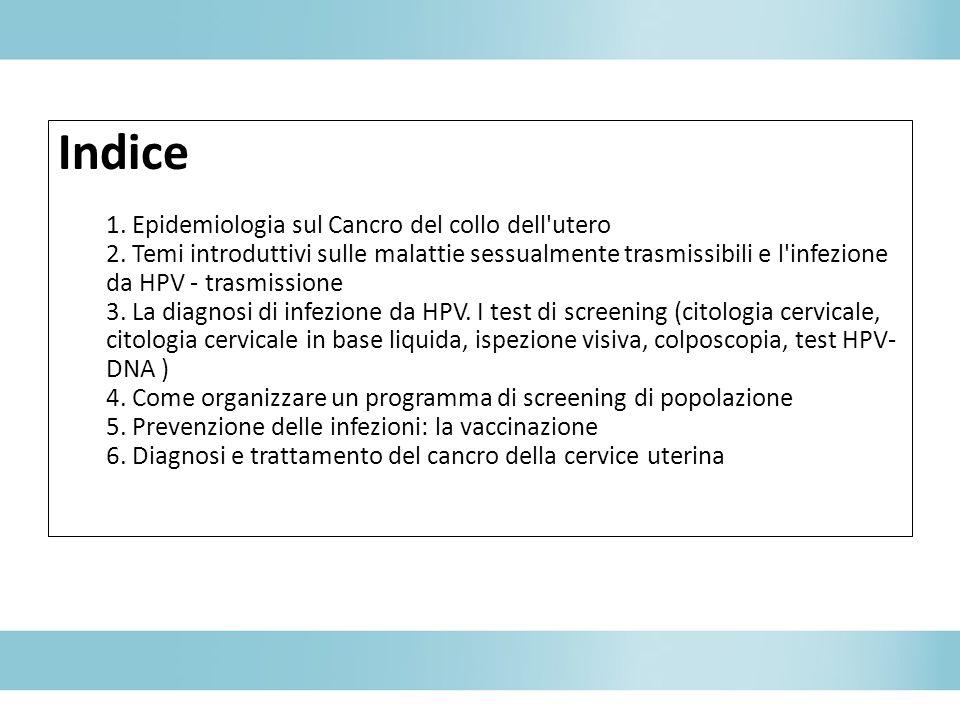 Indice 1. Epidemiologia sul Cancro del collo dell utero 2