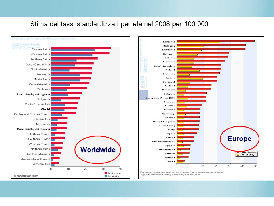 Stima dei tassi standardizzati per età nel 2008 per 100 000