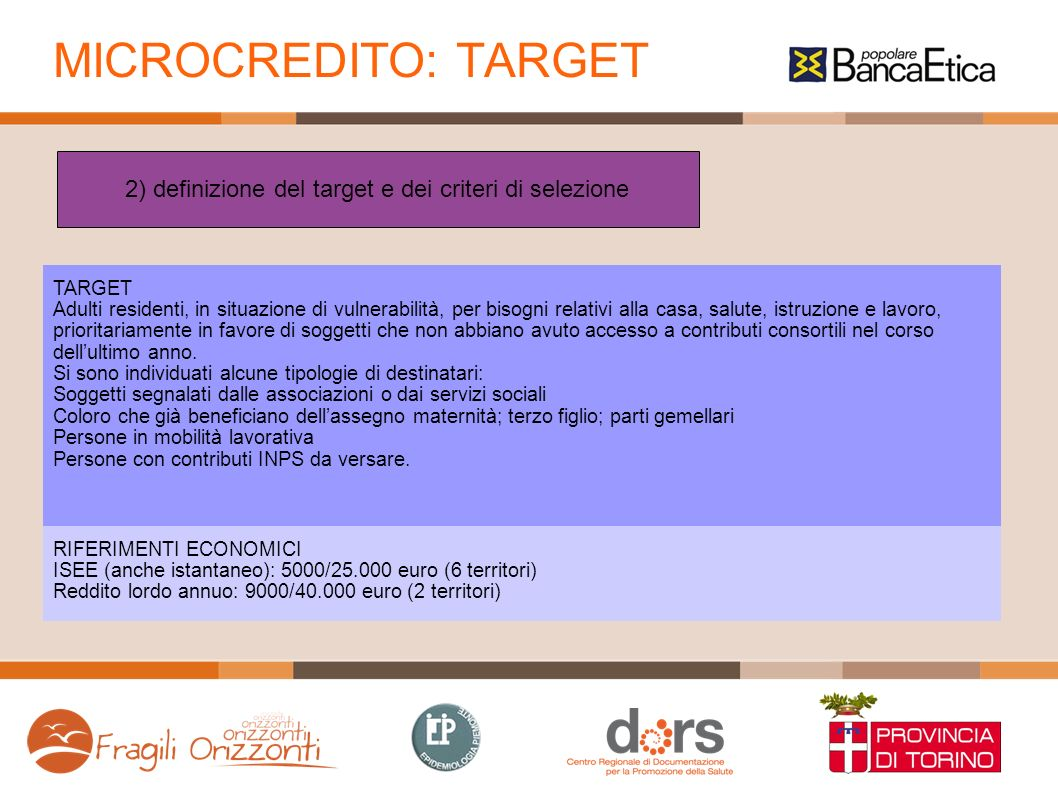 MICROCREDITO: TARGET 2) definizione del target e dei criteri di selezione. TARGET.