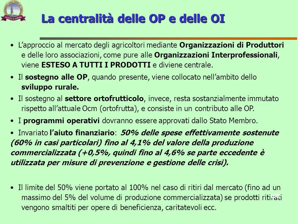 La centralità delle OP e delle OI