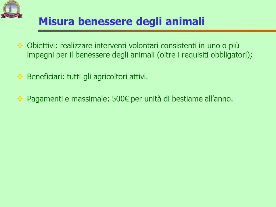 Misura benessere degli animali