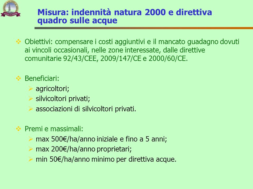 Misura: indennità natura 2000 e direttiva quadro sulle acque