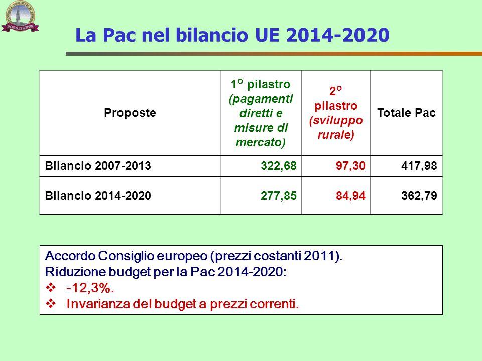 La Pac nel bilancio UE 2014-2020 Proposte. 1° pilastro (pagamenti diretti e misure di mercato) 2° pilastro (sviluppo rurale)