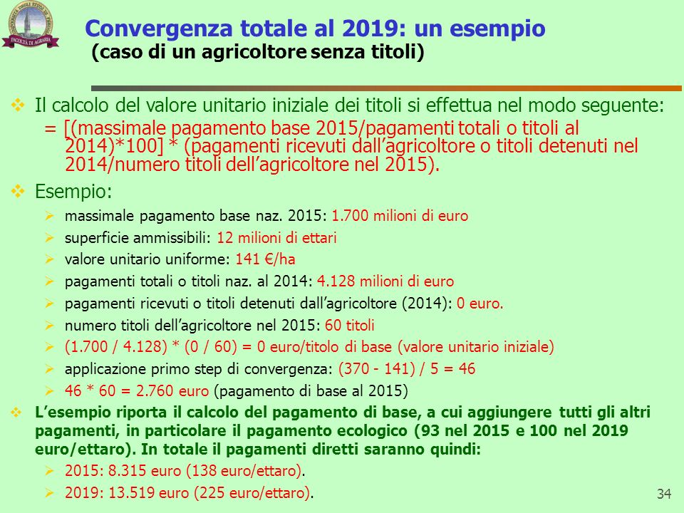Convergenza totale al 2019: un esempio (caso di un agricoltore senza titoli)