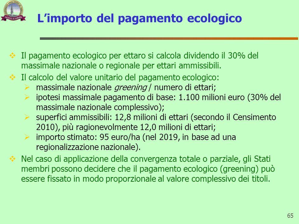 L'importo del pagamento ecologico