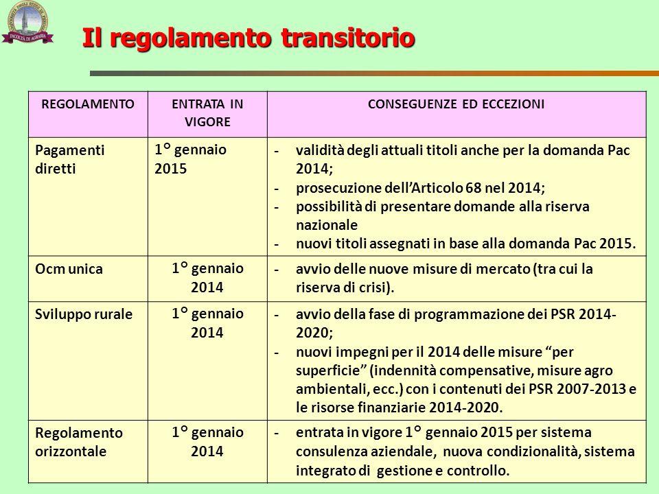Il regolamento transitorio