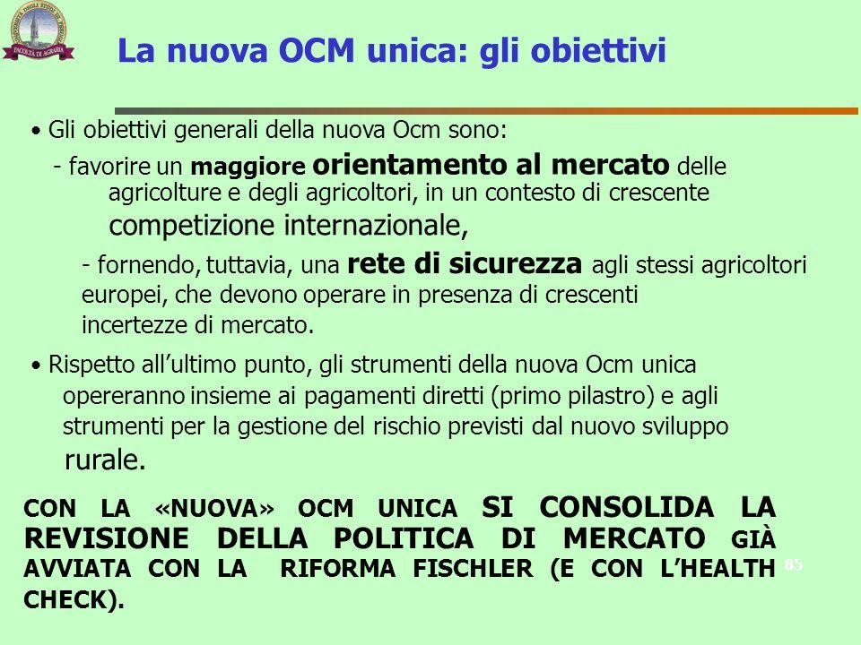La nuova OCM unica: gli obiettivi