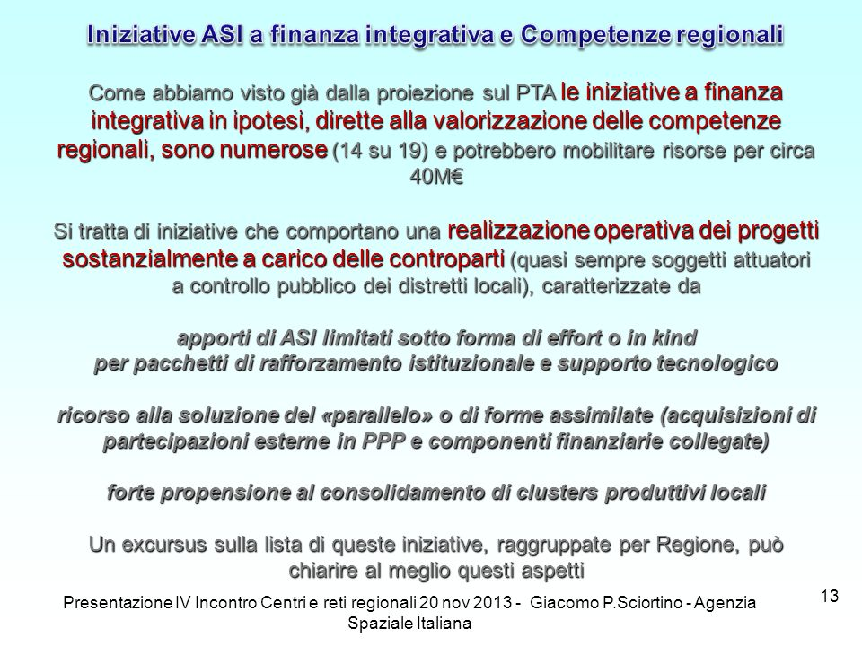Iniziative ASI a finanza integrativa e Competenze regionali