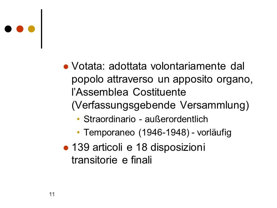139 articoli e 18 disposizioni transitorie e finali
