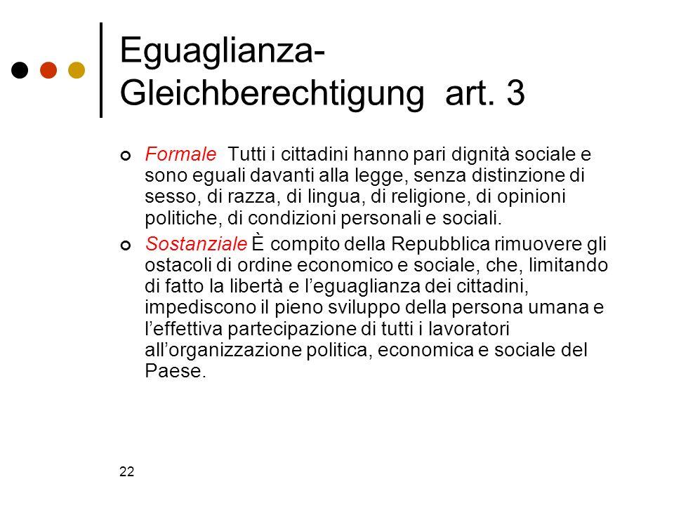 Eguaglianza- Gleichberechtigung art. 3