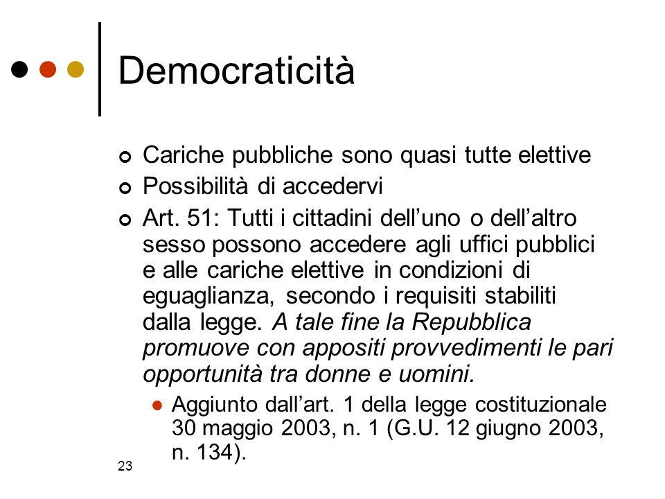 Democraticità Cariche pubbliche sono quasi tutte elettive