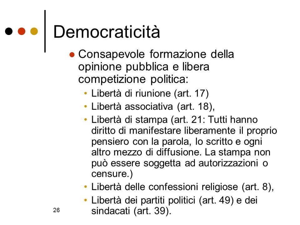 Democraticità Consapevole formazione della opinione pubblica e libera competizione politica: Libertà di riunione (art. 17)