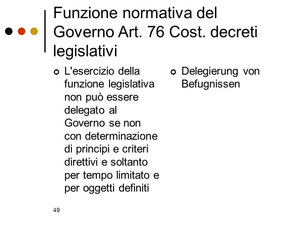 Funzione normativa del Governo Art. 76 Cost. decreti legislativi