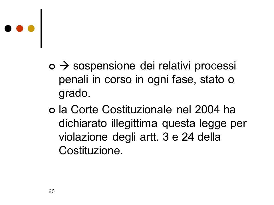  sospensione dei relativi processi penali in corso in ogni fase, stato o grado.
