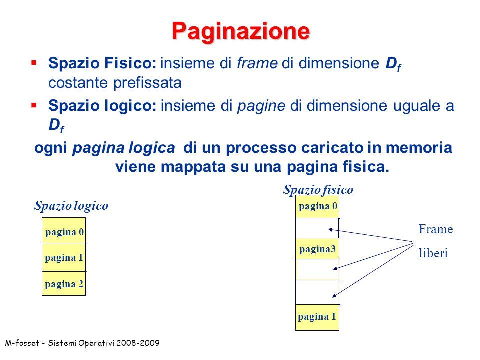 Paginazione Spazio Fisico: insieme di frame di dimensione Df costante prefissata. Spazio logico: insieme di pagine di dimensione uguale a Df.