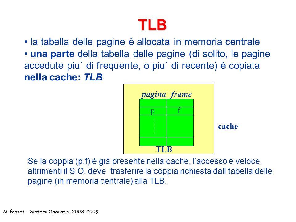 TLB la tabella delle pagine è allocata in memoria centrale
