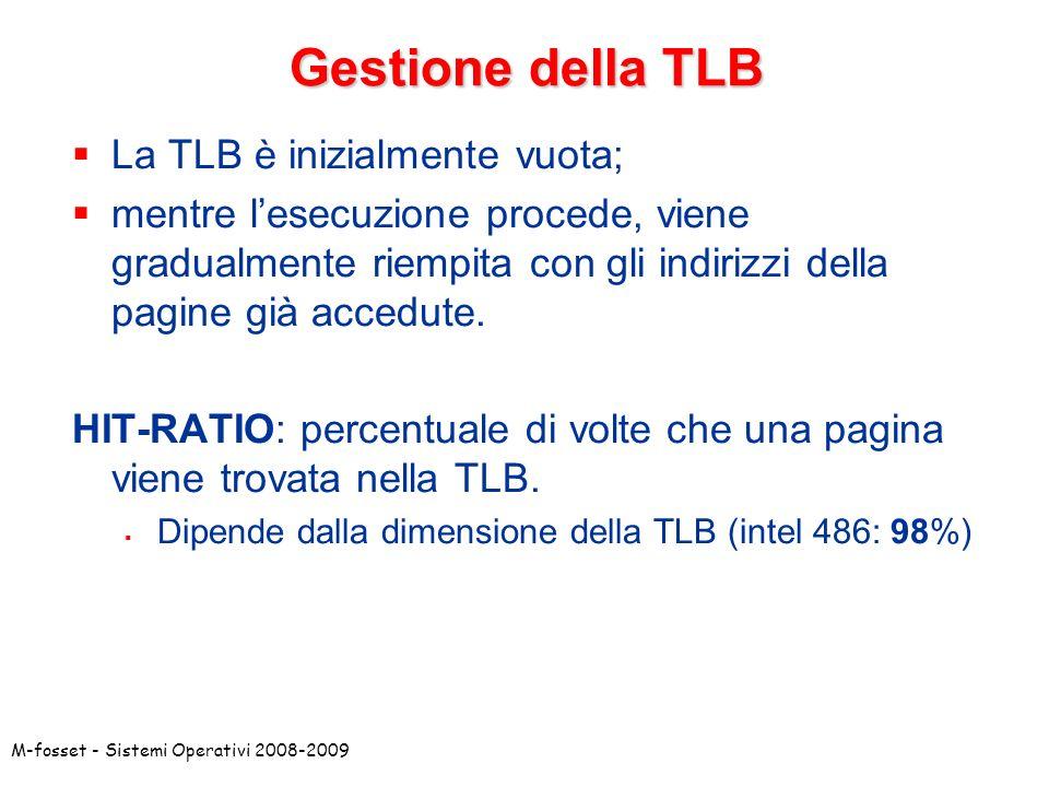 Gestione della TLB La TLB è inizialmente vuota;